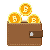 Digital wallet icon with coins that symbolize bitcoin or other cryptocurrency transactions