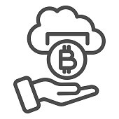 istock Bitcoin withdrawal line icon. Cryptocurrency coin cloud with helping hand symbol, outline style pictogram on white background. Money sign for mobile concept and web design. Vector graphics. 1213552696