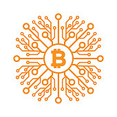 Bitcoins flat icon for infographics, mobile apps and websites. Digital currency technology. Vector illustration.