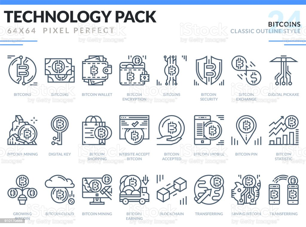 Bitcoins Icons Set. Technology outline icons pack. Pixel perfect thin line vector icons for web design and website application. vector art illustration