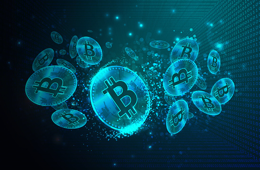 Bitcoins with Binary Code Digital Background