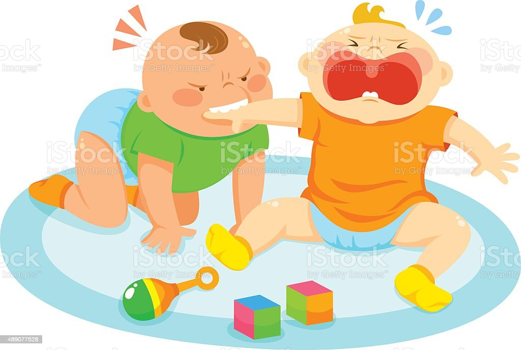 biting baby vector art illustration
