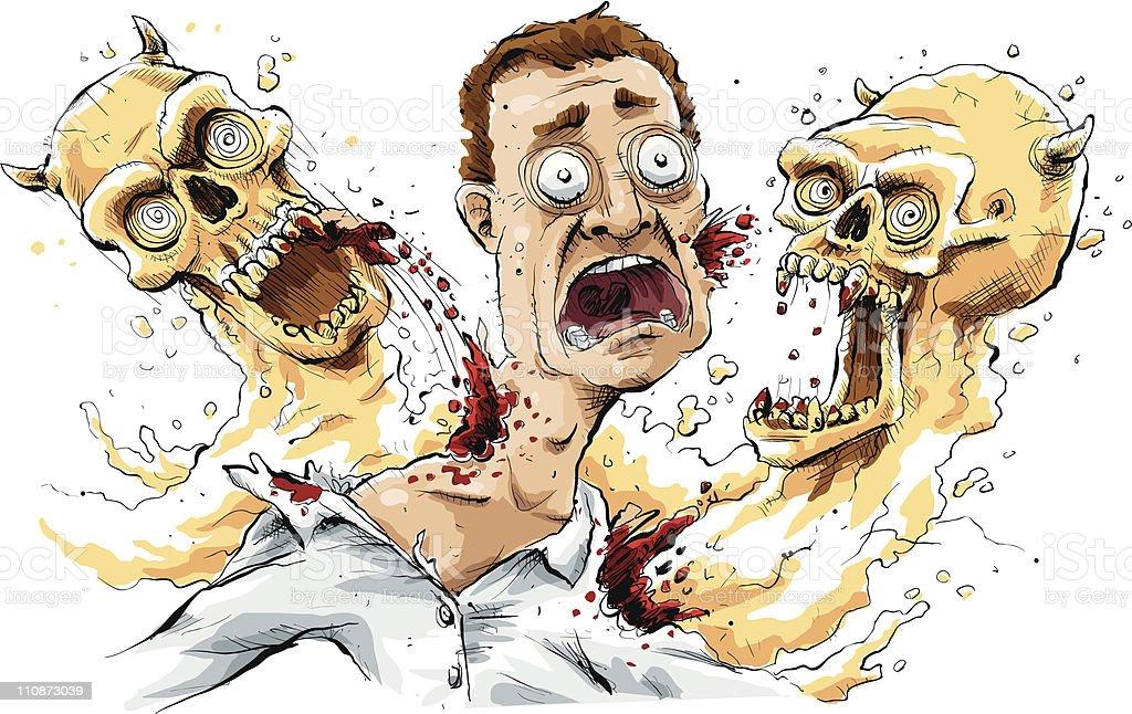 Biting Ghosts vector art illustration
