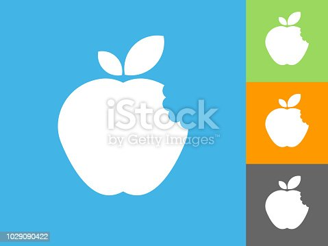 Bitten Apple  Flat Icon on Blue Background. The icon is depicted on Blue Background. There are three more background color variations included in this file. The icon is rendered in white color and the background is blue.