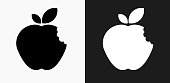 istock Bitten Apple Icon on Black and White Vector Backgrounds 811433730