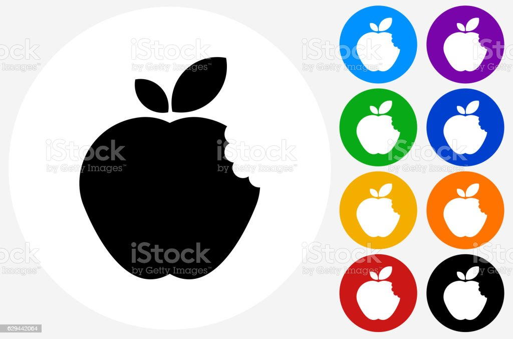 Bitten Apple Icon on Flat Color Circle Buttons vector art illustration