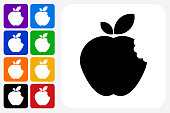 Bitten Apple Icon Square Button Set. The icon is in black on a white square with rounded corners. The are eight alternative button options on the left in purple, blue, navy, green, orange, yellow, black and red colors. The icon is in white against these vibrant backgrounds. The illustration is flat and will work well both online and in print.