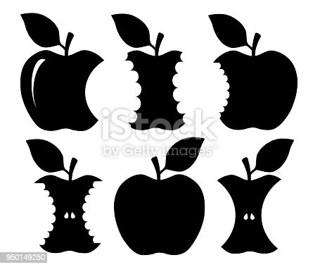 Bitten apple silhouette