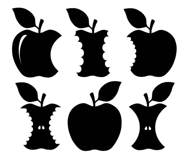 ilustrações, clipart, desenhos animados e ícones de silhueta de maçã mordida - alimento cru