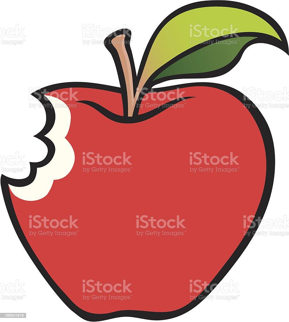 Bitten Apple Vector Art Illustration