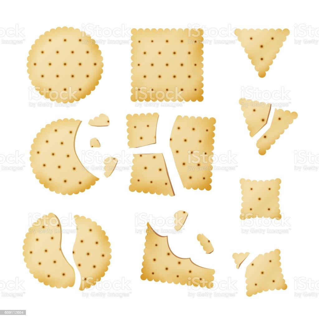 Bitten Chip Biscuit Cookie Vector. Cracker In Different Shapes vector art illustration
