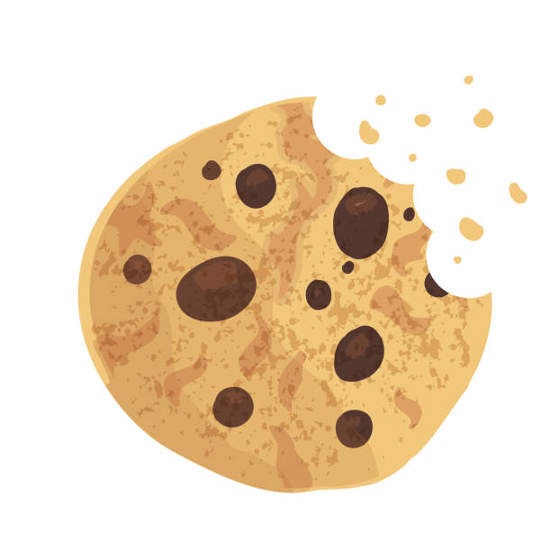 chip-cookie, cracker, keks gebissen. vektor-illustration - plätzchenteig stock-grafiken, -clipart, -cartoons und -symbole