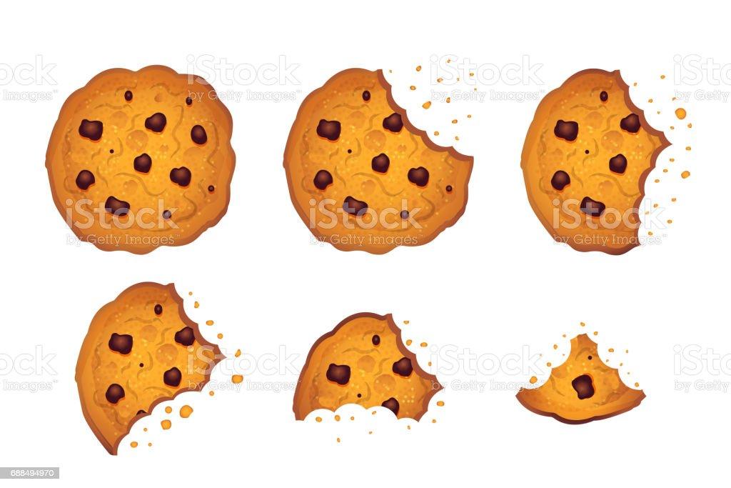 Bitten  chip cookie vector illustration set vector art illustration
