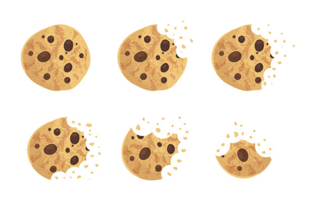 gebissen chip cookie-vektor-illustration-set - plätzchenteig stock-grafiken, -clipart, -cartoons und -symbole