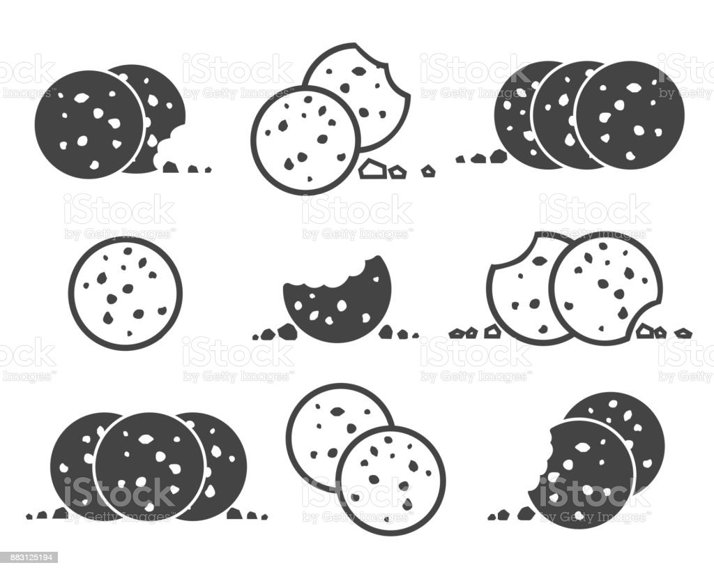 Bitten chip cookies icon set vector art illustration