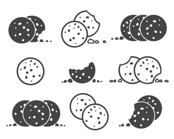 illustrazioni stock, clip art, cartoni animati e icone di tendenza di bitten chip cookies icon set - briciola