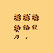 Bitten chocolate chip cookie vector illustration set for Chocolate Chip Cookie Day on August 4th