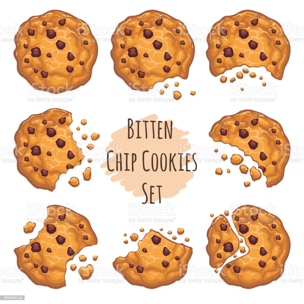 Bitten chocolate chip cookies set vector art illustration