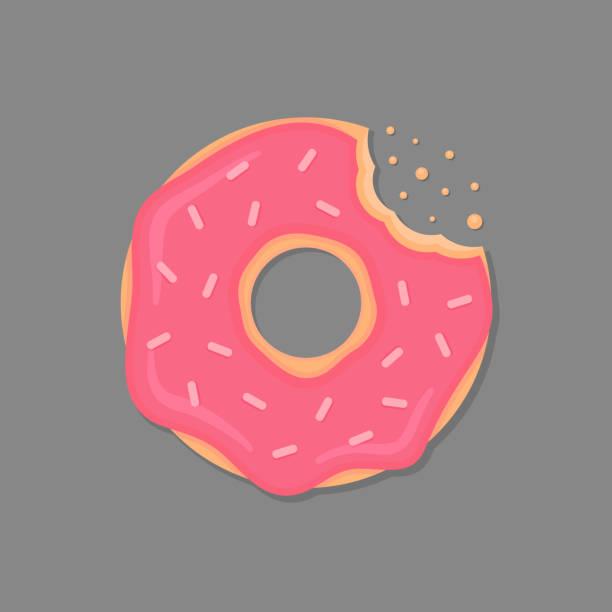 stockillustraties, clipart, cartoons en iconen met gebeten donut met roze slagroom en hagelslag. cartoon donut. vector donut pictogram. - eetklaar