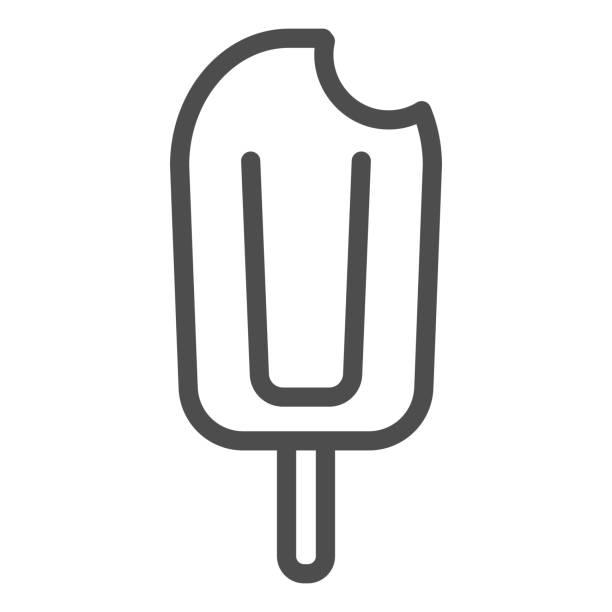 bildbanksillustrationer, clip art samt tecknat material och ikoner med biten glass linje ikon, sommar koncept, glass på en pinne skylt på vit bakgrund, glass på träpinne ikonen i kontur stil för mobilt koncept och webbdesign. vektorgrafik. - wood sign isolated