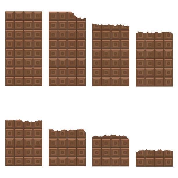 Bitten Milk Brown Chocolate Bar Pattern. Sweet Food Set. vector art illustration