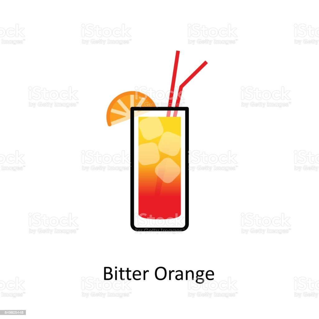 Bitter Orange cocktail icon in flat style vector art illustration