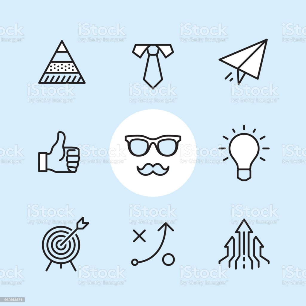 Biz theme - outline icon set vector art illustration