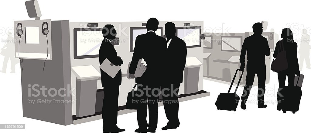 Biz Travel Vector Silhouette vector art illustration