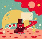 Bizarre alien businessman in suit with briefcase and top hat going on a space trip (standing on a new planet)