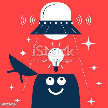 845301446 istock photo Bizarre businessman (adpersonin, robot) with open head, UFO and an idea light bulb 878214214