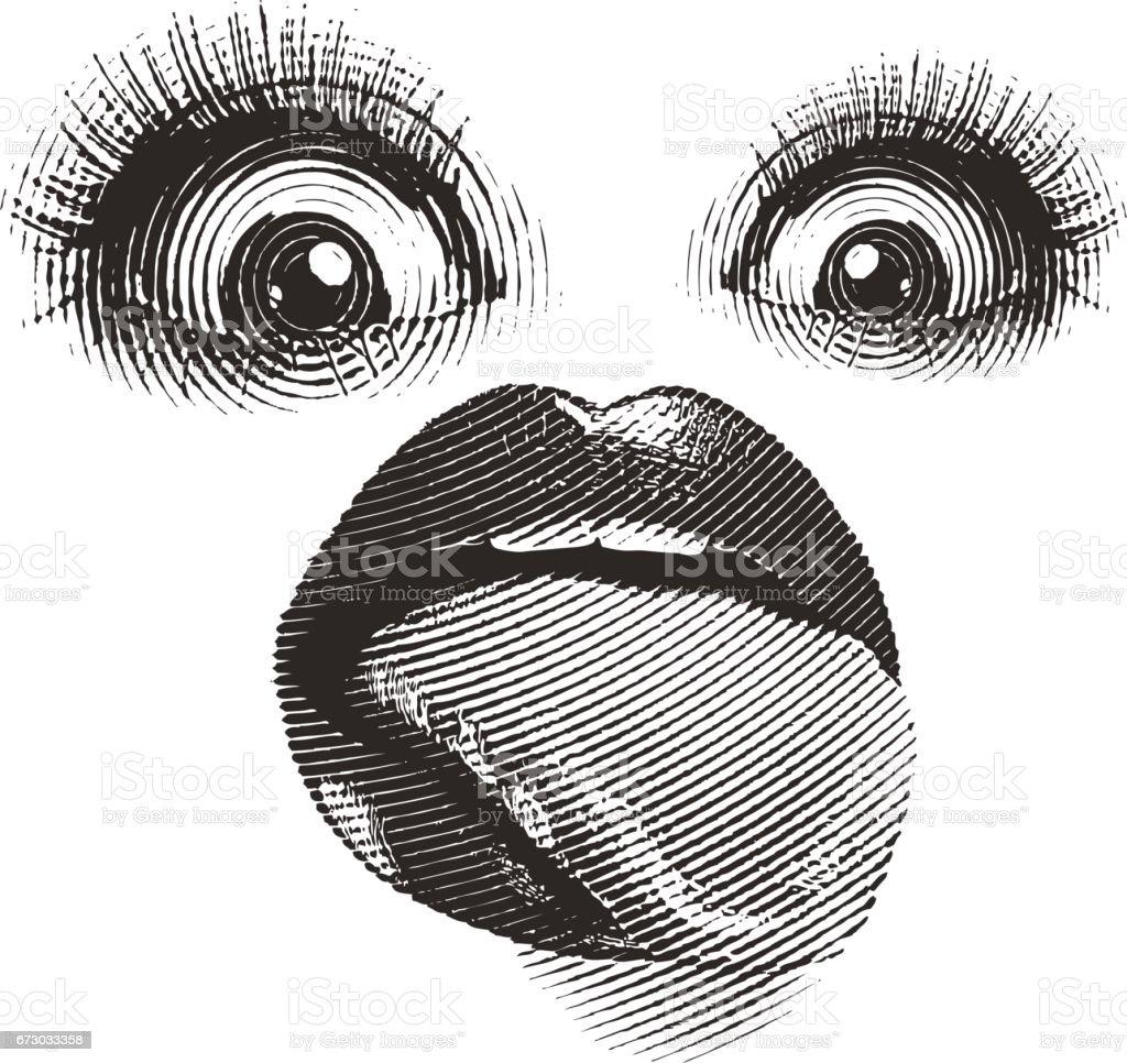 Bizarre Mund mit Zunge heraus. Isoliert auf weiss. – Vektorgrafik