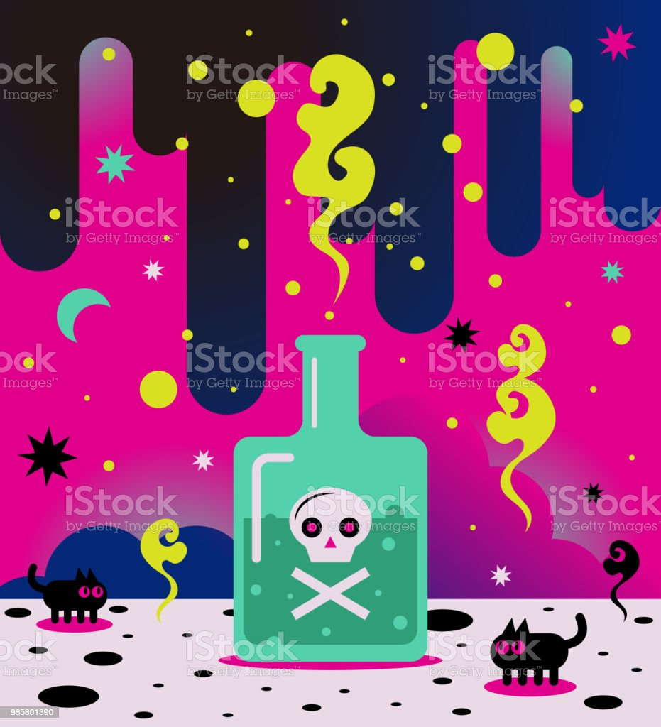 Bizarre poison bottle with skull and crossbones vector art illustration