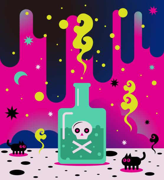 Bizarre poison bottle with skull and crossbones vector art illustration