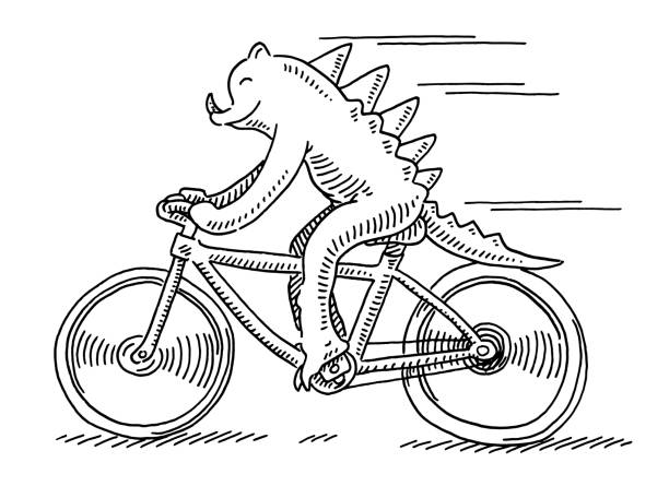 Bizarre Reptile Riding Bicycle Drawing Hand-drawn vector drawing of a Bizarre Reptile Riding a Bicycle. Black-and-White sketch on a transparent background (.eps-file). Included files are EPS (v10) and Hi-Res JPG. cycling stock illustrations