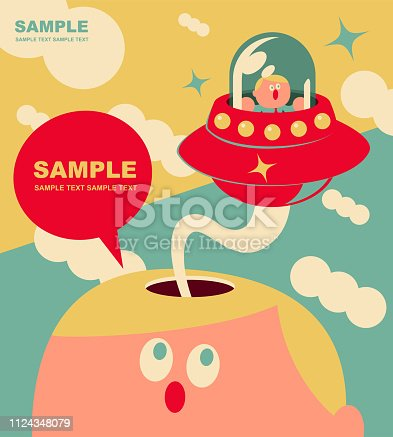 Unique Characters Full Length Vector art illustration.Copy Space. Bizarre small cute office worker flying UFO from giant man open head.