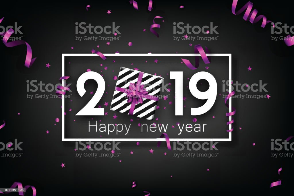 black 2019 happy new year card with purple top view gift royalty free black