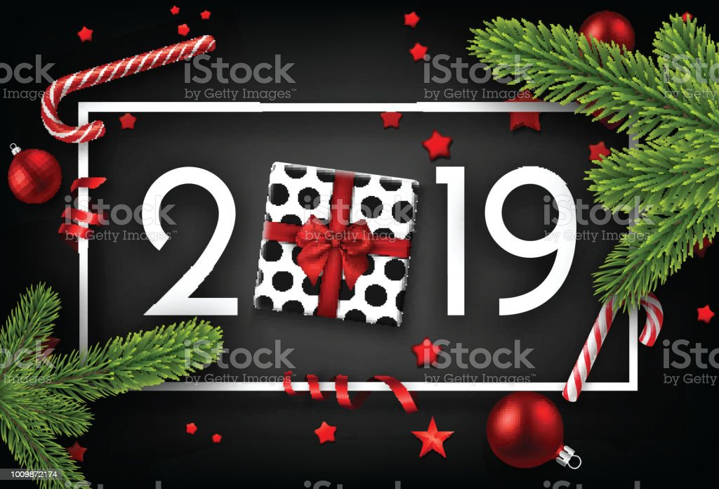 black 2019 happy new year card with top view gift royalty free black 2019