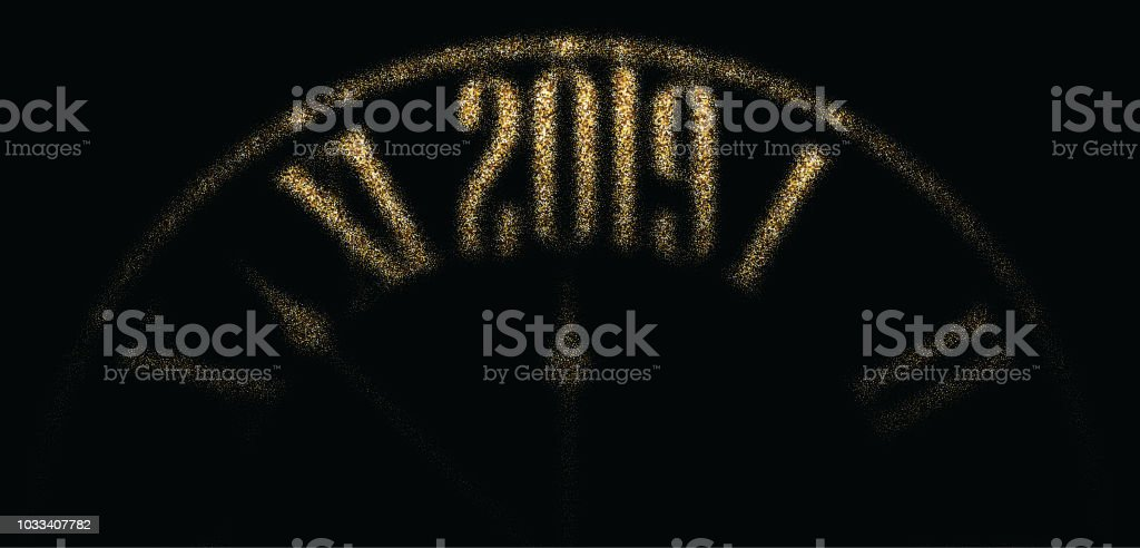 black 2019 new year banner with golden clock royalty free black 2019 new year