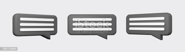 istock Black 3d bubble talks set isolated on gray background. Glossy black speech bubbles, dialogue, messenger shapes. 3D render vector icons for social media or website 1331123281
