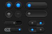 Black 3d buttons - sliders and radio buttons. Pushed and normal