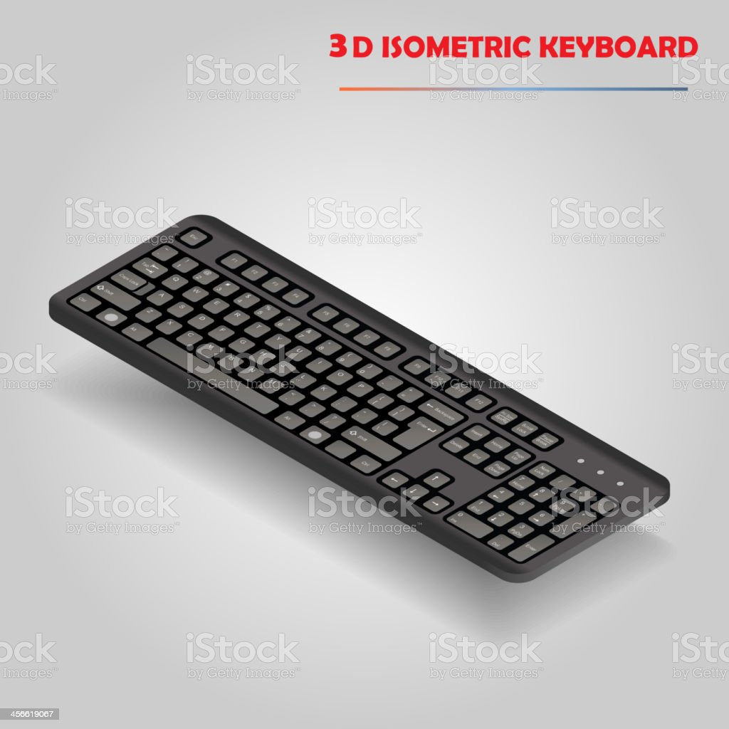Black 3d computer keyboard vector royalty-free stock vector art