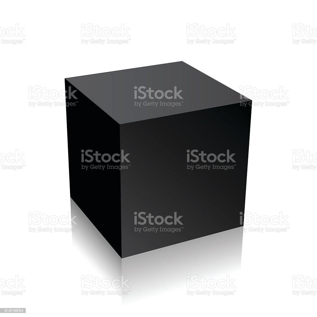 Black 3d cube vector art illustration