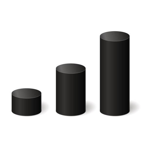 schwarz 3d zylinder mit einem schatten. vektor-illustration - zylinder stock-grafiken, -clipart, -cartoons und -symbole