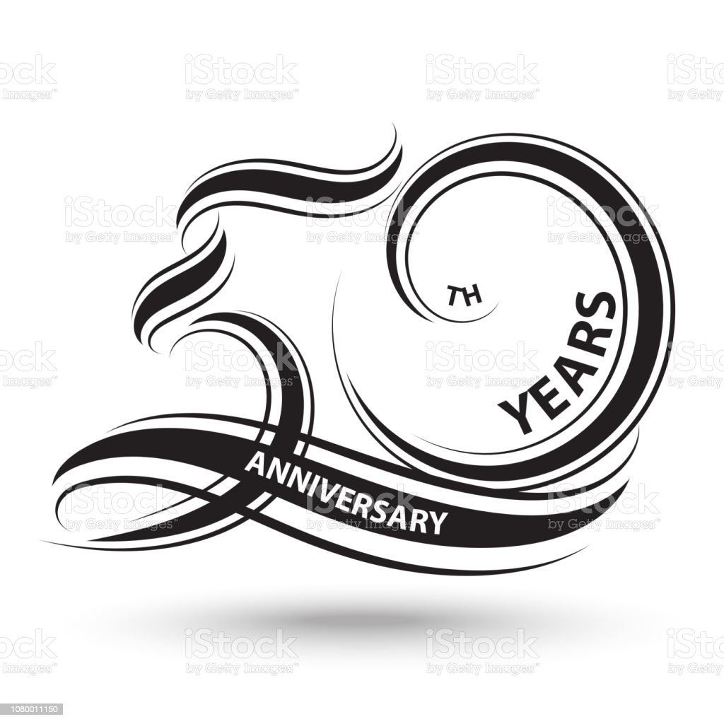 black 50th anniversary sign and logo for celebration symbol vector art illustration