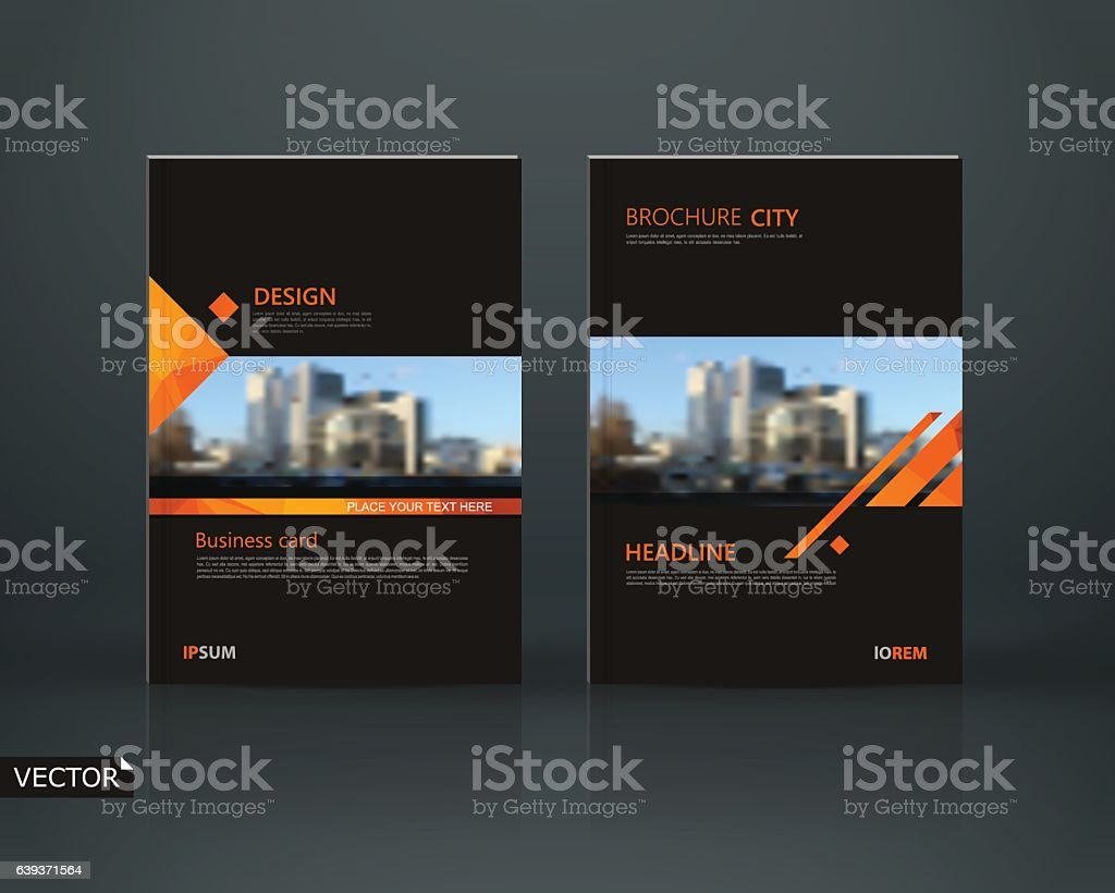 Abstract composition. Black a4 brochure cover design. Info banner...