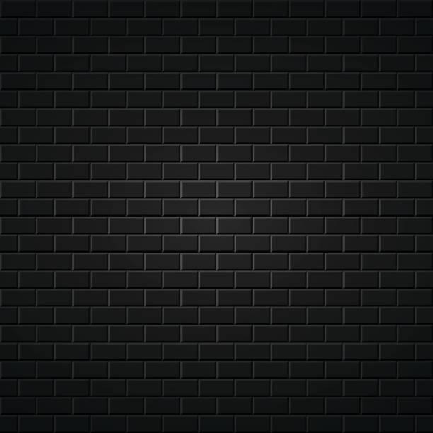 Black abstract background. Brick wall texture. vector art illustration