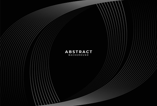 Black abstract background with dark gray curve lines design. Modern simple stripes lines concept. Dark wavy graphic design element with space for your text. Suit for cover, poster, banner, brochure, ad. Vector illustration