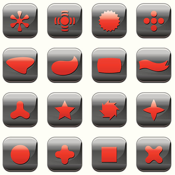 Black Abstract Buttons vector art illustration