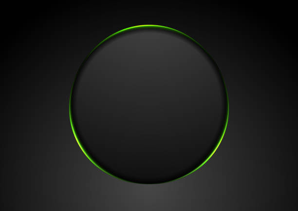 Black abstract circle shape with green glowing light tech background vector art illustration