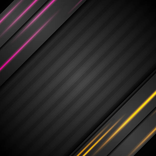 Black abstract corporate background with glowing lines vector art illustration